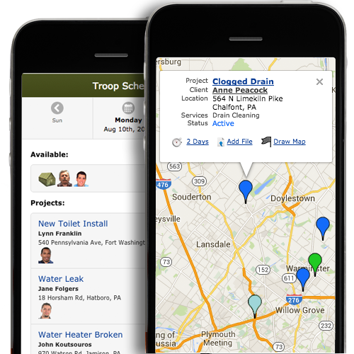 Plumber App & Job Scheduler for Smartphone